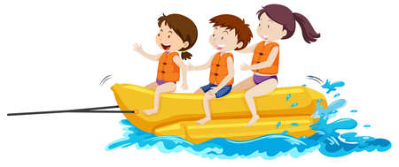 Happy Kids Playing Banana Boat illustration Illustration