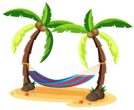 Coconut Tree and Hammock on White Background illustration