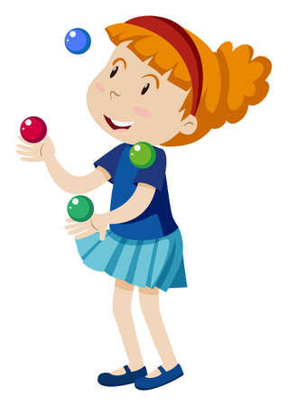 A Girl Juggling on White Background illustration