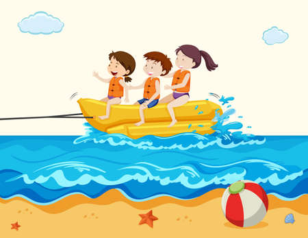 Holiday Kids Riding Banana Boat  illustration