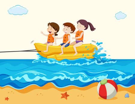 Holiday Kids Riding Banana Boat  illustration