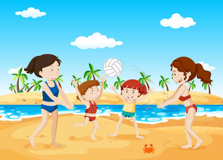 People Playing Volleyball at the Beach illustration