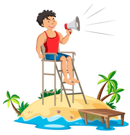 A Fit Lifeguard with Megaphone illustration
