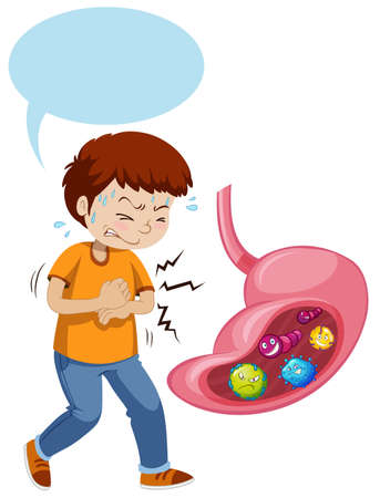A Boy Stomach Ache and Full off Bacterias illustration