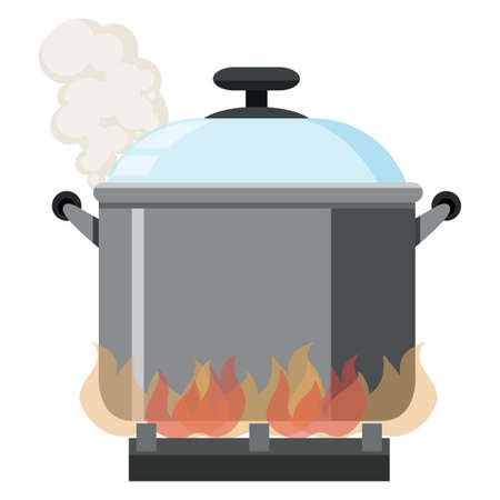 Fire Flame Pot on White Background illustration 일러스트