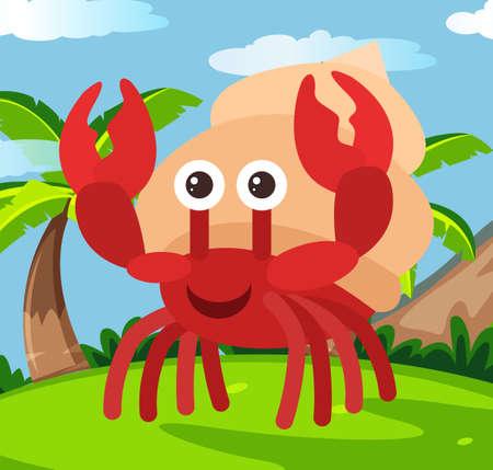 Happy Hermit crab in Land illustration