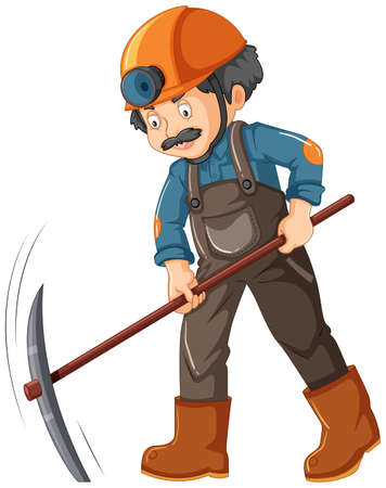 A Mine Worker on White Background illustration Illustration