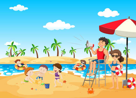 Lifeguard on the Beach Holding Megaphone illustration