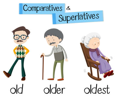 A English Comparative Educational Card illustration Vectores