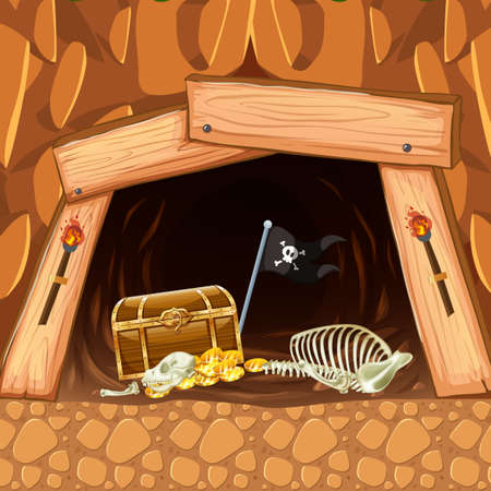 Pirate Mining Cave Treasure and Skeleton illustration Illustration