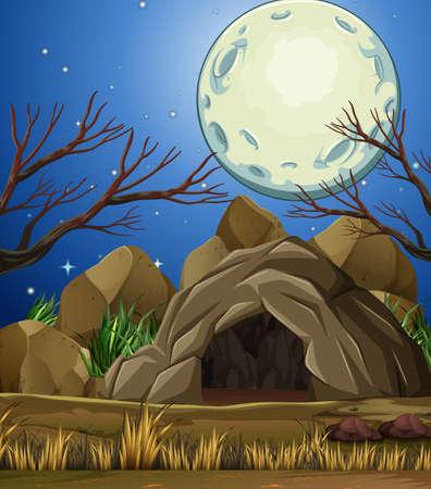 Stone Cave Under then Moon Light illustration