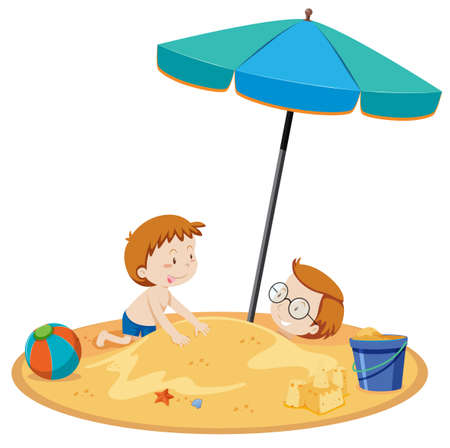 Son and Father playing at Beach illustration Illustration