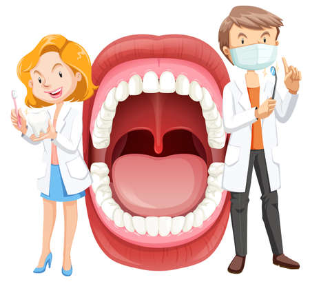 Human Mouth Anatomy with Dentist illustration