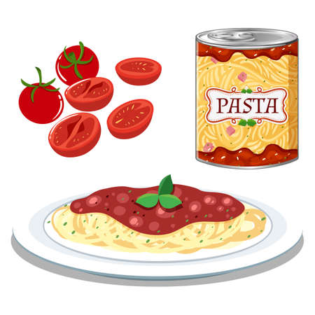 Pasta with Simple Tomato Sauce  illustration Illustration