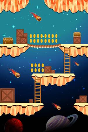 Game Template Dangerous Space Scene illustration