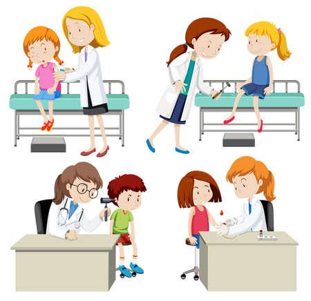 A Set of Doctor and Kid illustration Illustration