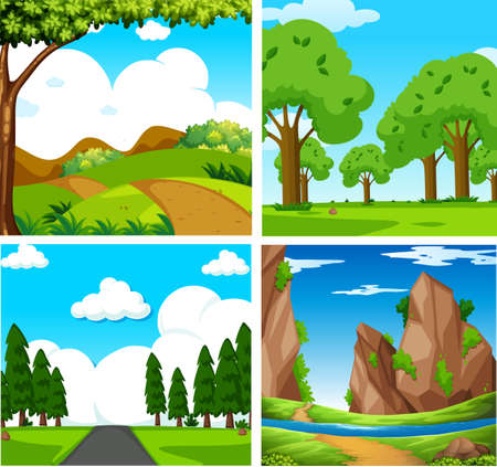 Four Beautiful Green Natural Landscape illustration