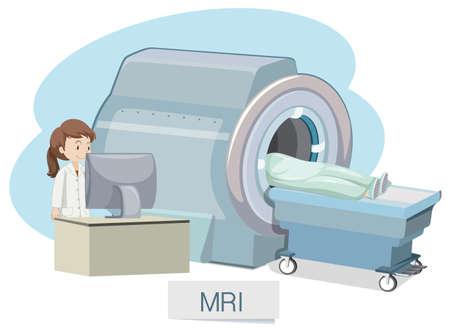 escaneo de resonancia magnética en el fondo blanco ilustración Ilustración de vector