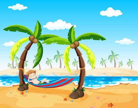 A Boy Relaxing under Palm Tree illustration