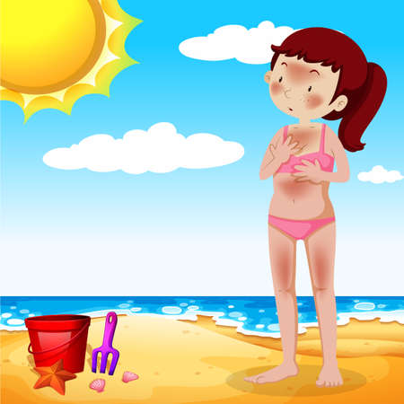 A Girl Tanning at the Beach illustration Vectores