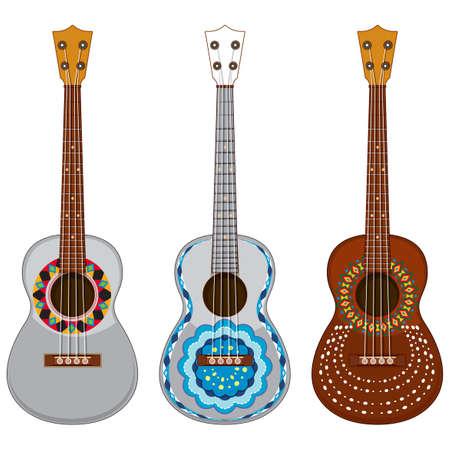 Decorated Guitar on White Background illustration 矢量图像