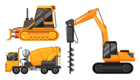 A Set of Construction Truck illustration Illustration