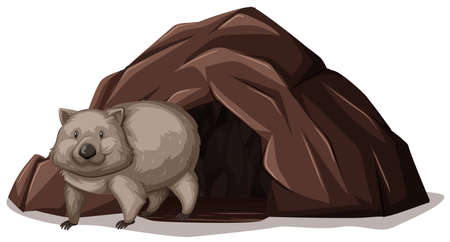 Wombat Walking out off the Cave illustration Vectores
