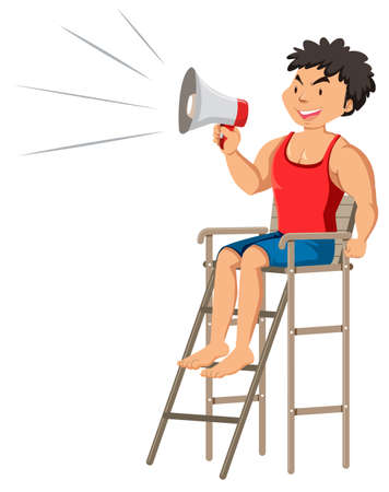 A Smart Lifeguard with Megaphone illustration