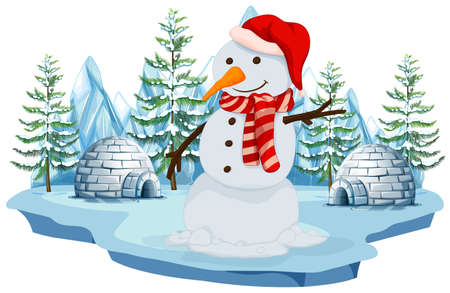 A Snowman in Norh Pole illustration