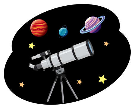 Planet and telescope on white background illustration