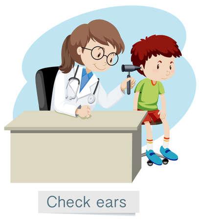 Un ragazzo che controlla le orecchie con l'illustrazione del medico