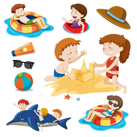 A Set of Children and Beach Activities illustration
