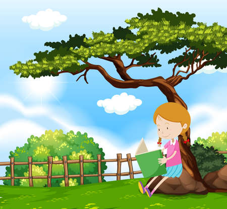 A Girl Reading a Book Under Tree illustration Çizim