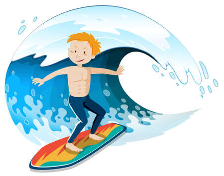 A Young Surfer Surfing a Big Wave illustration
