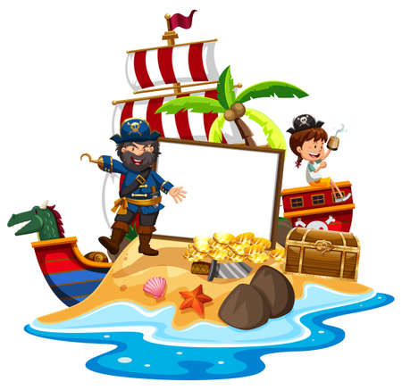 A pirate with Girl Banner Template illustration