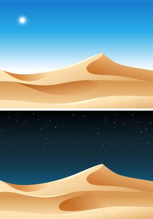 Day and Night Desert Scene illustration