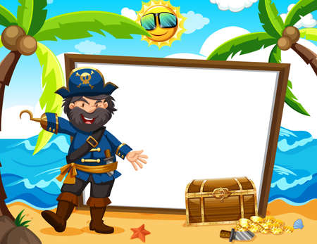 Pirate Captain and White Banner illustration