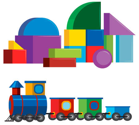 Colourful Children Toys on White Background illustration