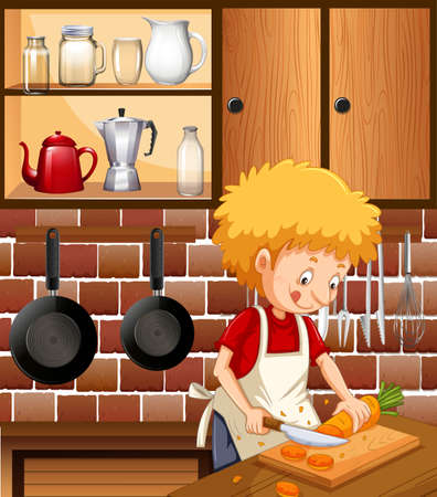 A Man Cooking in the Kitchen illustration