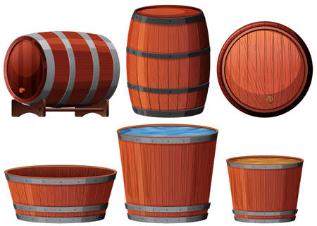 Six different woden barrell illustrations