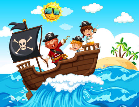 A Pirate and Happy Kids on Boat illustration