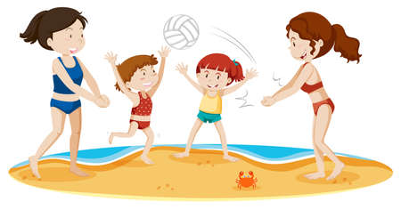 A Family Playing Volleyball at the Beach illustration Illustration