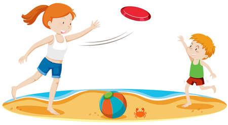 Kinderen spelen frisbee op strand illustratie Stockfoto - 102247481
