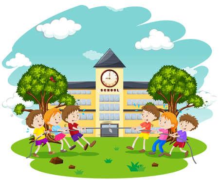 Kids Play Tug of War at School illustration Illustration