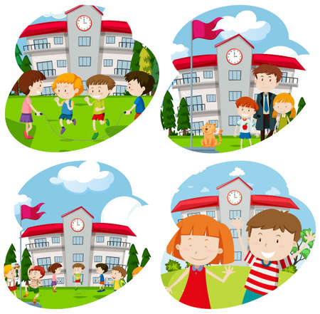 Students Activity at the School illustration