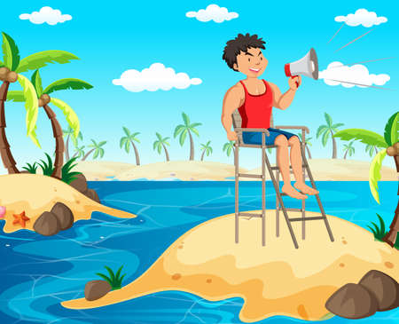 A Lifeguard Holding a Megaphone illustration