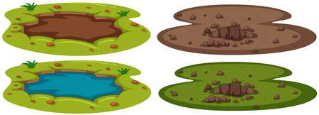 A Set of Underground Hole illustration Çizim