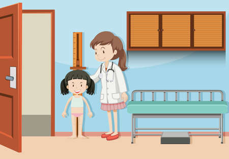 A Girl Measuring the Height illustration