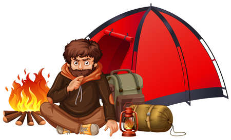A Man Camping on White Background illustration