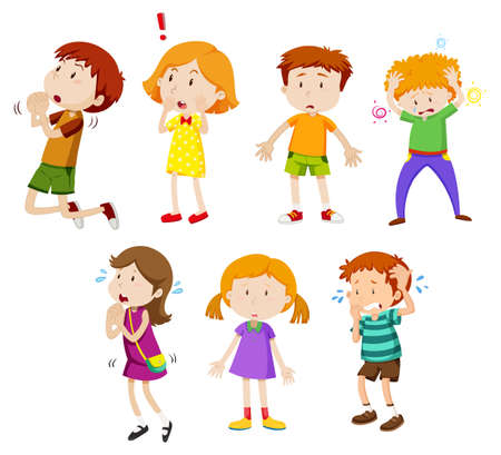 A Set of Young Children Expression illustration